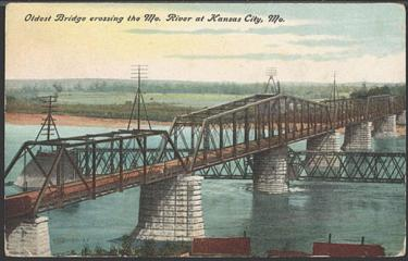 The Hannibal Bridge, opened in 1869. The oldest bridge crossing the Missouri River at Kansas City, MO.