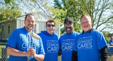 (From left) Mo. Rep. Robert Sauls, Dist. 21; Tom Krewson, Comcast director of government affairs; Mo. Rep. Jerome Barnes, Dist. 28; Mo. Rep. Jeff Coleman, Dist. 32; all came to show support and help with the efforts of Comcast Cares Day.